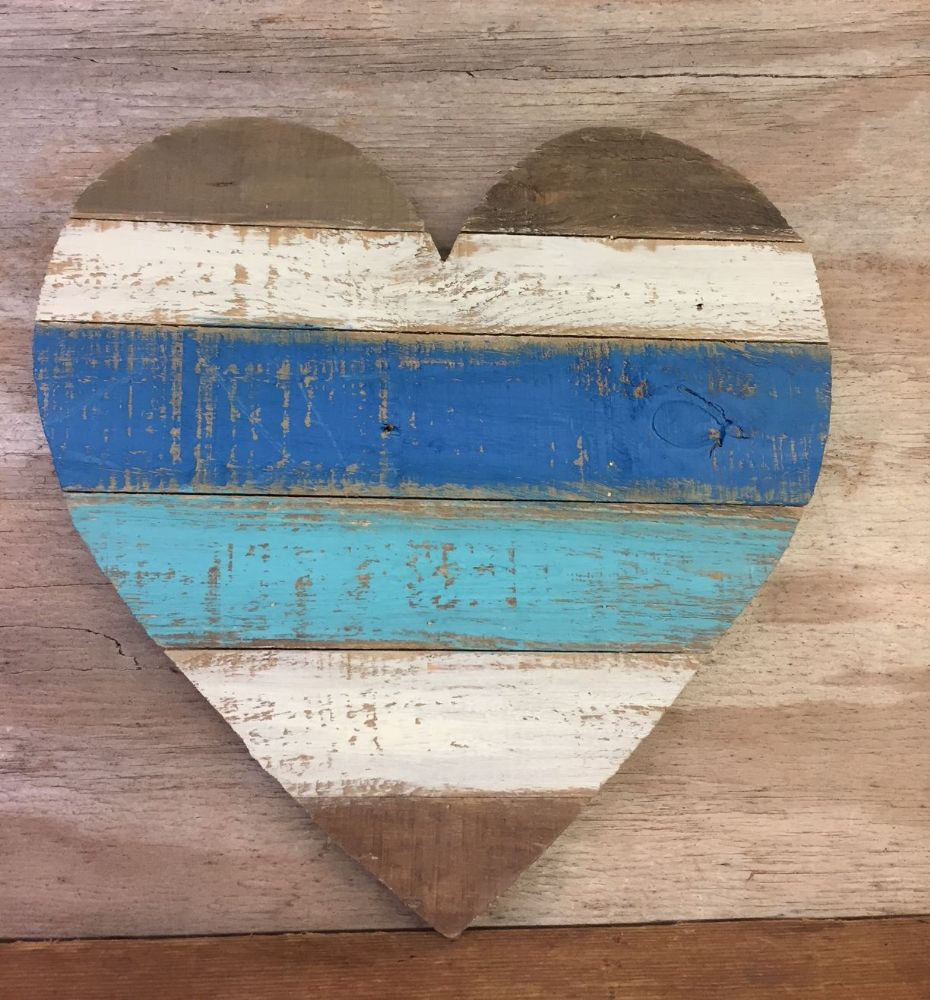 Blue Heart Wooden Distressed Boardwalk Coastal Wall Art